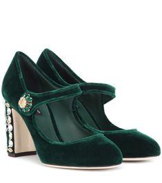 Dolce and Gabbana Green Velvet Shoes, Emerald Green Shoes, Green Pumps, Dolce & Gabbana, Bridal Sandals, Bridal Shoes, Embellished Shoes, Satin Pumps, Mary Jane Pumps