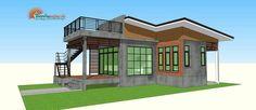 แบบบ้านโมเดิร์นลอฟท์ มาพร้อมกับดาดฟ้าชมวิว พื้นที่ใช้สร้อย 75 ตรม   ดูไอเดียบ้าน Small Cottage House Plans, Small House Plans, Cottage Homes, Modern Bungalow House, Small Cottages, House Design, Mansions, House Styles, Exterior