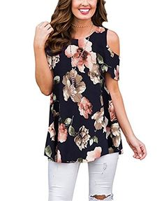 f1a222e21355 Women's Cold Shoulder Floral Print Blouse V-Neck T-Shirts Summer Tunic Tops  L #fashion #clothing #shoes #accessories #womensclothing #tops (eba…