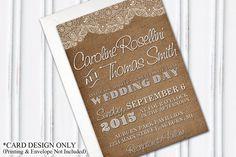 Burlap & Lace Wedding Invitation Rustic, DIY Bride, PRINTABLE by H20WhiteLacePromises