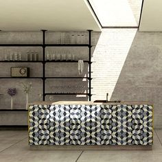 Skylight. Tiled bench http://decdesignecasa.blogspot.it
