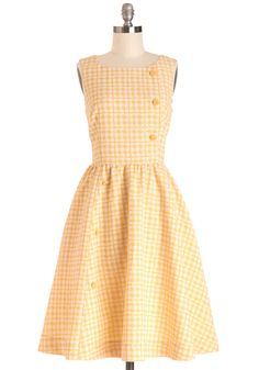 Picnic Poise Dress. Youre prettily poised for a picnic lunch date in this fit-and-flare dress by Myrtlewood! #yellow #modcloth