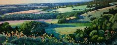 Ewa Adams Long Shadows, Winchester Hill Acrylic on Canvas 40 x 100 cm £ 2,300  #Art #Paintings #Exhibitions #Surrey