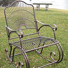 Metal Porch Rocker I want Welded Furniture, Metal Patio Furniture, Cute Furniture, Iron Furniture, Outdoor Lounge Furniture, Steel Furniture, Wrought Iron Chairs, Wrought Iron Decor, Wrought Iron Gates