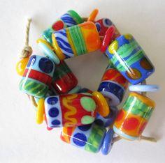 Happy Hippie Lampwork Beads SRA by bethsingleton on Etsy