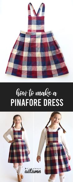 Learn how to create your own pinafore dress pattern so you can make a pinafore dress in any size! Click through for step by step directions. Pinafore Dress Pattern, Tunic Dress Patterns, Girls Pinafore Dress, Evening Dress Patterns, Shirt Dress Pattern, Summer Dress Patterns, Jumper Dress, Knit Dress, Dress Sewing