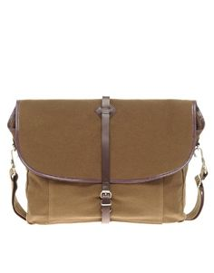 fred perry tan satchel