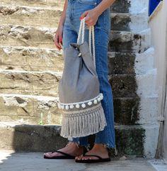Breeze - Summer Backpack - summer bag - beach backpack - boho backpack - canvas backpack - beach bag - pom pom bag - drawstring backpack by CirceGoods on Etsy Beach Backpack, Canvas Backpack, Cylinder Shape, Fringe Bags, Summer Bags, Cotton Rope, Waterproof Fabric, Drawstring Backpack, Bucket Bag