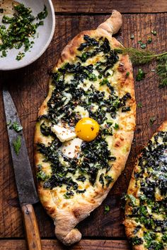 Khachapuri (Georgian Cheese Bread) with Kale and Herb Sauce –> or cheese stuffed bread with runny eggs and a touch of butter too. this is a traditional Georgian dish very similar t… Pizza Recipes, Vegetarian Recipes, Cooking Recipes, Phyllo Dough Recipes, Easy Egg Recipes, Amish Recipes, Dutch Recipes, Bread Shaping, Cheese Bread