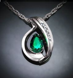 Argentium silver and Chatham emerald and diamond pendant designed by David Worcester for VerbenaPlaceJewelry.Etsy.com