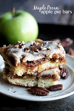 Sugary Sweet Maple Pecan Apple Pie Bars