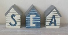 New East of India Set of 3 Beach Huts Sea Bathroom Ornament:Amazon.co.uk:Kitchen & Home