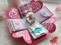 This handmade explosion box would be the perfect present for Mothers Day or just to say how special is your mother to you. You can add personalized messages and photos inside the exploding box. This box uses 32 photos. ~~~~~~~IMPORTANT~~~~~~~~~~~ That box is without photos! You will