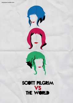 """Scott Pilgrim Vs The World"" by Leah Jacobs-Gordon.  http://minimalmovieposters.tumblr.com/tagged/Scott-Pilgrim"
