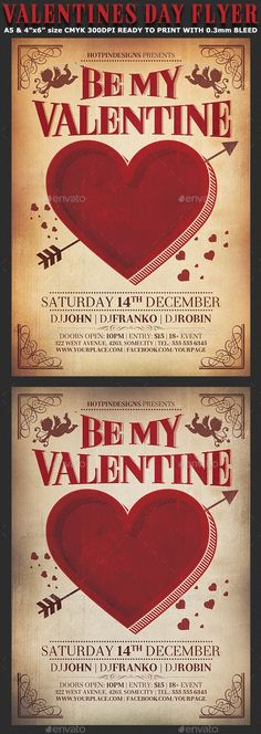 Buy Valentines Day Vintage Flyer Template by Hotpin on GraphicRiver. Valentine's Day Vintage Flyer Template is very modern psd flyer with vintage feel that will give the perfect promotio. Valentine Poster, Valentines Day Words, Valentines Design, Saint Valentine, Valentines Day Party, Be My Valentine, Valentine Sday, Valentines Balloons, Restaurant Poster