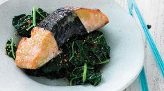 Nori-Wrapped Glazed Salmon with Sesame Kale. Nori is one of the most nutrient dense foods there is. Kale Recipes, Easy Healthy Recipes, Healthy Cooking, Seafood Recipes, Gourmet Recipes, Healthy Meals, Salmon Recipes, Nori Wrap, Potato Salad Mustard