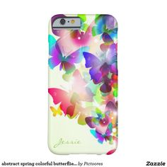 abstract spring colourful butterflies with name barely there iPhone 6 case