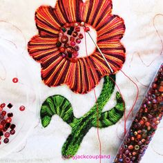 Hand embroidery - the addition of colour, pattern, shape and texture to cloth. So simple yet so effective. Colour Pattern, Color, Fiber Art, Hand Embroidery, Textiles, Photoshoot, Shapes, Simple, Photo Shoot