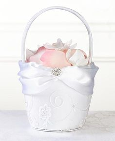White Lace Flower Girl Basket - White satin basket with a white lace overlay, decorated with a white satin band and a rhinestone button.