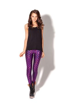 Mermaid Purple Leggings by Black Milk Clothing