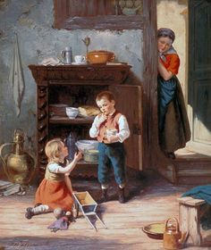 Jan Walraven – Dutch) - Children playing a doll Teaching Babies, Beauty In Art, Cottage Art, Dutch Painters, Country Crafts, Paintings I Love, Famous Artists, Kids Playing, Holland