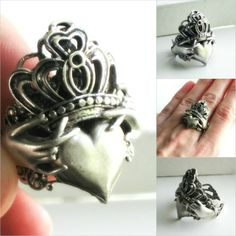 claddagh ring no by JuleeMClark on DeviantArt Witch Wedding, Wedding Gifts For Couples, Wedding Ideas, Rustic Wedding, Claddagh Rings, Black Wedding Dresses, Black Heart, Couple Gifts, Silver Jewelry