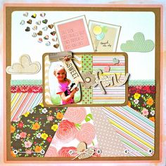 Scrapbook layout created using Dear Lizzy Neapolitan paper collection. Embellies by same collection and Heidi Swapp.