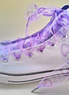 bd2ea5edf076 Organza ribbon shoe laces Wedding shoelaces for Hi top Converse