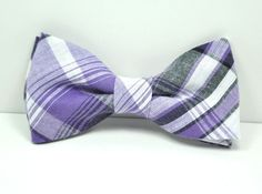 Hey, I found this really awesome Etsy listing at https://www.etsy.com/listing/216408021/purple-and-gray-plaid-boys-bow-tie
