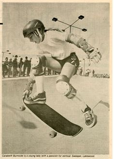 """Thrasher magazine February 1981 included a photo of Cara-Beth Burnside, """"a young lady with a passion for vertical."""""""