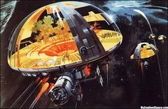 Old sci-fi illustrations. Cool Bio dome space ship.