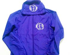 Monogram Rain Jacket - Personalized Jacket - Monogram Rain Coat - Monogram Gift - Embroidered Jacket - Purple Rain Jacket - Women's Jacket by fabuellaboutique. Explore more products on http://fabuellaboutique.etsy.com