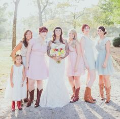 summery mixed bridesmaid dresses with boots
