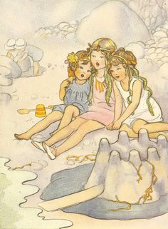1930's Children's Print By Susan B Pearse - Three Girls On The Beach