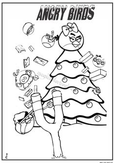Free Christmas Angry Birds Coloring Pages Printable