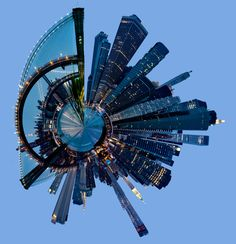 """""""Little Planet"""" of NYC Financial District with brooklyn Bridge"""