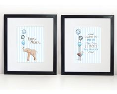 Birth Statistics Art Prints 2 8x10s  Elephant and by PebblesPrints, $30.00