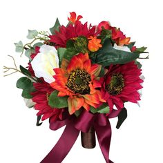 """Burgundy Orange theme bouquet made with sunflowers and ivory roses as pictured. Measures at 10 x 10"""",which is a very good looking size. Handle: Brown ribbon with burgundy bow."""