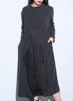 Повседневное платье из хлопока длины миди с сочетанием контрастных цветов с длинными рукавами