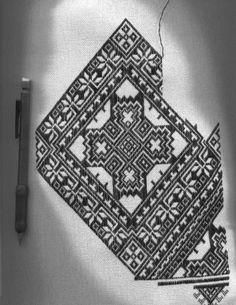 Here's a sneak peek at my ukrainian nyzynka project. It starts out black and white then at the end all the white bits are filled in with colour. Cross Stitch Patterns, Needlework, Embroidery, My Style, Ukraine, Color, Lace, Hand Embroidery, Rugs