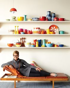 Lisa Congdon with her Scandinavian enamelware.