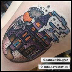 WEBSTA @ jennahayestattoo - Loved doing this one on Ciara @handanddagger #tattoo #traditionaltattoo #traditional #realtattoos #real_traditional #topclasstattooing #oldlines #besttradtattoos #ladytattooer  #bright_and_bold #darkartists #tradworkerssubmission #hauntedhousetattoo #hauntedhouse