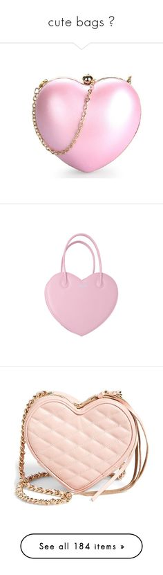 """cute bags ♡"" by marcellamic ❤ liked on Polyvore featuring bags, handbags, clutches, bolsas, accessories, satin evening bags, heart purse, vintage hand bags, pink purse and vintage handbags"