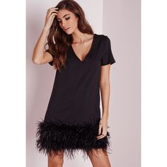 Missguided Feather Trim Shift Dress ($60) ❤ liked on Polyvore featuring dresses, black, kohl dresses, black dress, sleeve shift dress, black v neck cocktail dress and black shift dress