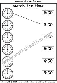 Match the time – 2 Worksheets