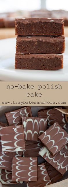Polish Cake is a rich, chocolatey, no-bake chocolate biscuit cake. A soft base topped with a crisp chocolate layer. Simple ingredients and easy to make. Chocolate Fridge Cake, No Bake Chocolate Cake, Chocolate Biscuit Cake, Chocolate Rocks, Chocolate Orange, No Bake Biscuit Cake, No Bake Cake, Tray Bake Recipes, Baking Recipes
