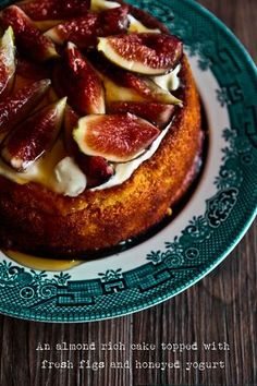 Almond Cake topped with figs and honeyed yogurt. Mmmmmm