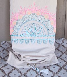 Neon Scribbs in pink & blue natural canvas, custom art, drawstring. One of a kind, every time by Chapman at Sea Surfboard Bag, Balance Board, Surf Board, Custom Art, Worship, Pink Blue, Skateboard, Surfing, Neon