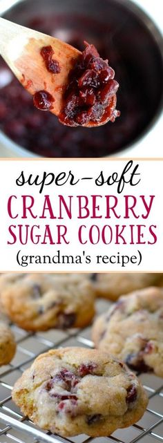 My grandma always made the softest yummiest cookies and. My grandma always made the softest yummiest cookies and thankfully she passed along her recipe to me. These cranberry cookies are a delicious treat any time of year! Mini Desserts, Cookie Desserts, Cookie Recipes, Delicious Desserts, Dessert Recipes, Yummy Food, Cranberry Cookies, Cranberry Recipes, Holiday Recipes