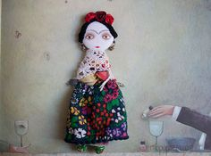 Frida Kahlo Art Doll Brooch mixed media collage gift by miopupazzo